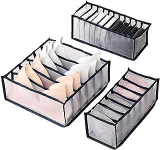 Wishstar Box Rangement sous Vetement, Organisateurs de Tiroirs Pliable pour sous-Vêtements Trois Pièces, Organisateur tiro...