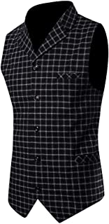 MmNote Mens Slim Fit Double Breasted Dress Suit Button Down Vest Business Dress Waistcoat in 27 Colors. Sizes: M-3XL