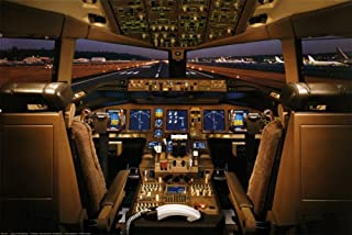 EuroGraphics Laminated Boeing 777-200 Flight Deck Airplanes Poster 36 x 24in
