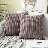 MIULEE 2er Set Cord Weiches Massiv Dekorativen Quadratisch Überwurf Kissenbezüge Kissen für Sofa Schlafzimmer 16'x16', 40 x 40 cm Brown
