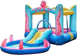 YBWEN Castillos hinchables Castillo Inflable for niños, pequeño trampolín de Interior y al Aire Libre Actividades Parte Castillo Inflable Castillo Inflable (Color : Azul, Size : 380×200×180cm)