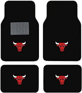 A Set of 4 Universal Fit Front and Rear Logo Plush Carpet Floor Mats (BULLS)