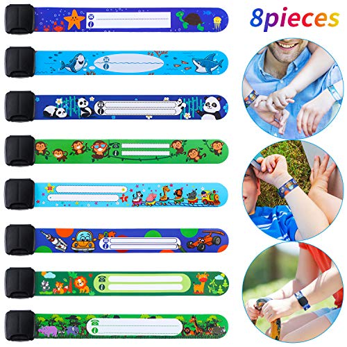 8 Pieces Safety ID Wristband Reusable Identification Bracelet Adjustable Waterproof ID Bands, 8 Styles