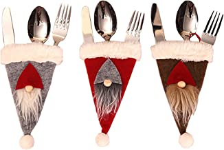 Christmas Gnomes Hats Silverware Holders - 3pcs/set Xmas Tableware Fork Spoon Knife Storage Bag Party Table Dinner Décor(Red,Grey and Coffee)