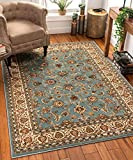 Noble Sarouk Light Blue Persian Floral Oriental Formal Traditional Area Rug 8x10 8x11 ( 7'10' x 9'10' ) Easy Clean Stain Fade Resistant Shed Free Modern Contemporary Traditional Living Dining Room Rug