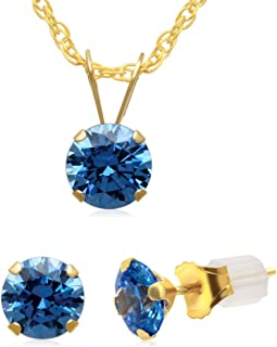 Jewelili 10KT Yellow Gold Blue Cubic Zirconia Solitaire Pendant and Earrings 2 Pieces Set