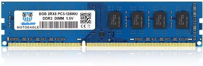 Motoeagle PC3 12800U 8GB DDR3 1600 UDIMM 2RX8 Dual Rank Non ECC Unbuffered 1.5V Desktop Computer Memory