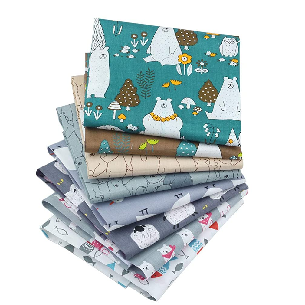 Cartoon Series Cotton Fabric Patchwork Fabric Fat Quarter Bundles Fabric for DIY Crafts Bedding Bags Doll Dress 40X50cm 8 Pieces (As Picture Shown)