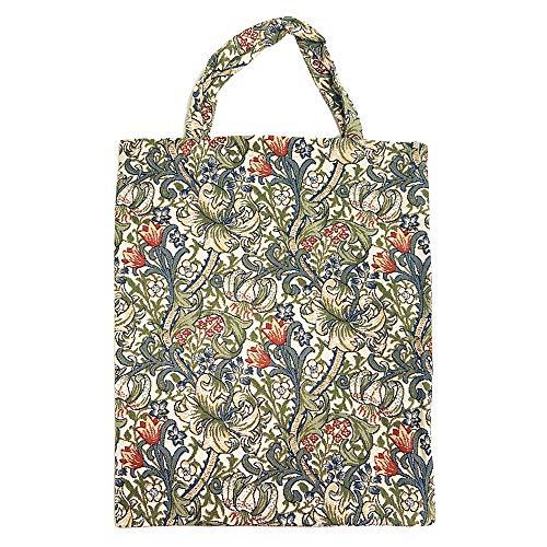 Signare Wiederverwendbare Einkaufstasche für Lebensmittel, umweltfreundlich, Motiv: William Morris Goldene Lilie