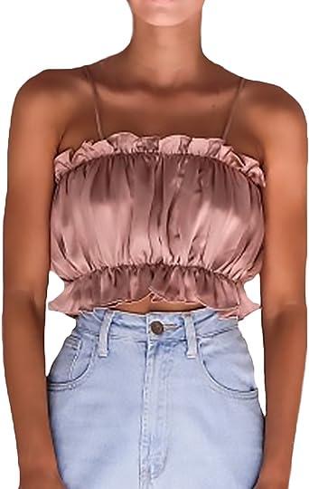 Camiseta Tirantes Mujer Crop Top Verano Sin Elegantes Único ...
