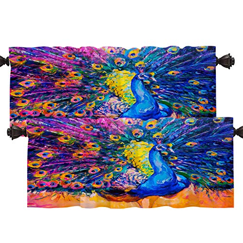 Batmerry Colorful Peacock Modern Kitchen Valances Half Window Curtain, Watercolor Artist Original Oil Painting On Canvas Colorful Kitchen Valances for Bedroom Heat Insulated for Decor 52x18 Inch