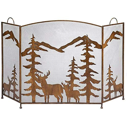 Read About LJFPB Fireplace Screen Extra Large with 3 Mesh Panel and Handles, Wrought Iron Baby Safe ...