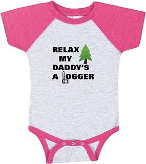 Cute Rascals Relax My Daddy's A Logger Baby Baseball Raglan Bodysuit Grey/Hot Pink 6 Months