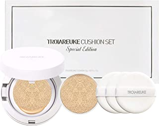 TROIAREUKE Korean Skincare H+ Cushion Foundation + Refill, 21 Light Beige SPF50+ PA++++ - K Beauty Longwear Make-up BB CC Cream Compact for Dry Skin Anti-aging Whitening Gift Set