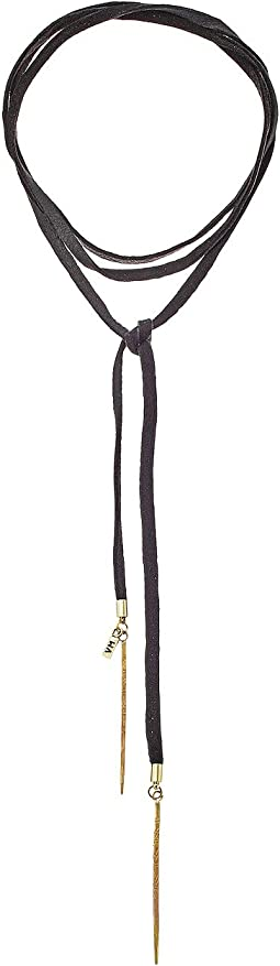 Black Leather Bolo with Antique Brass Daggers Necklace