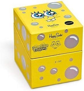 Happy Socks, Caja Regalo Bebe (XKBOB09-0100) 12/24M Sponge Bob 4 Calcetines