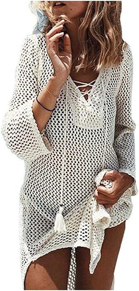 NFASHIONSO Women's Fashion Swimwear Crochet Tunic Cover Up/Beach Dress