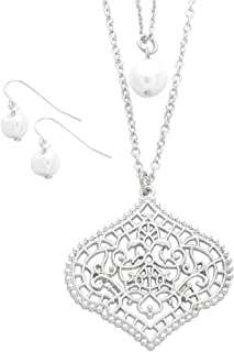 Rosemarie Collections Women's Double Strand Moroccan Style Pendant Necklace and Faux Pearl Earring Set