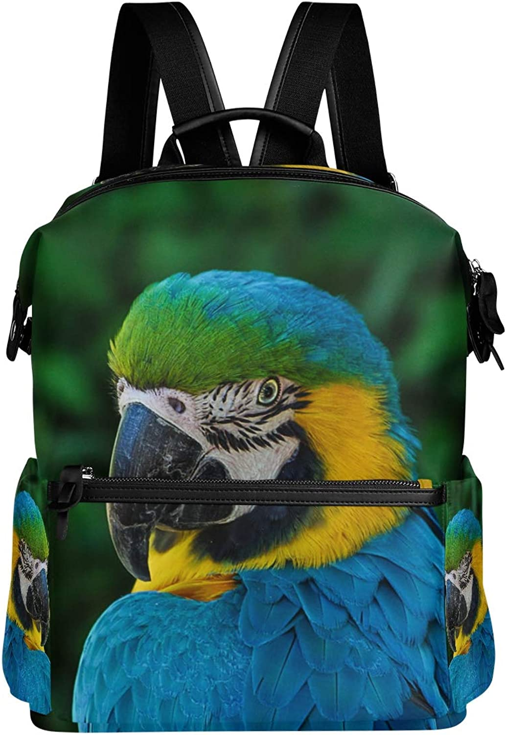 MONTOJ blueee Feather Parred Leather Travel Bag Campus Backpack