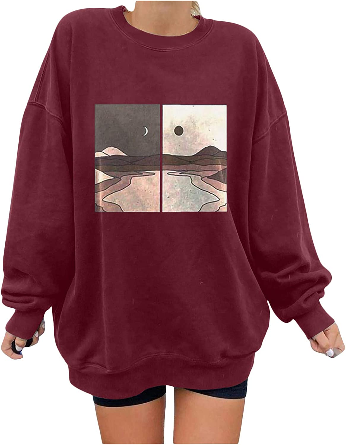 Long Sleeve Shirts for Women Indefinitely Tucson Mall Landscape Moon Natural Graphic Sun