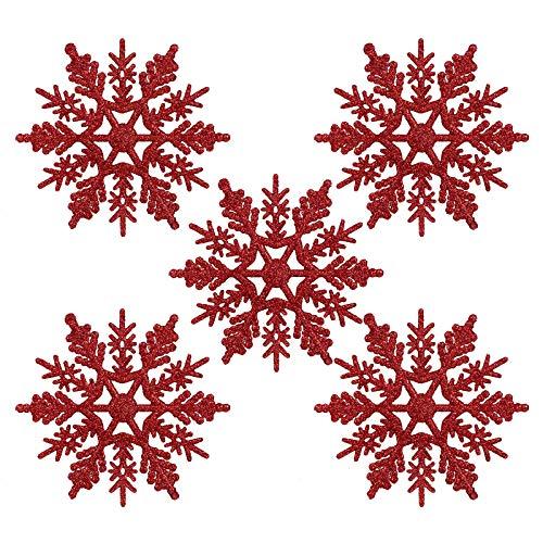 Naler 24 x Schneeflocken Weihnachten Deko für Weihnachtsbaum Glitzer Weihnachtsbaumschmuck, Rot