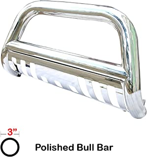Span Bull Bar Skid Plate Front Push Bumper Grille Guard Stainless Steel Chrome for 2007-2010 Chevy Silverado,GMC Sierra 2500HD,3500HD