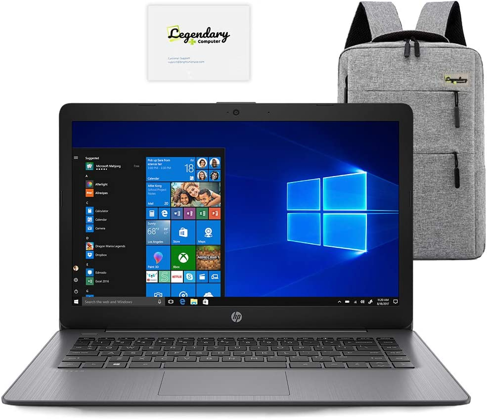 2020 HP 14 inch HD Laptop, Intel Celeron N4000 up to 2.6 GHz, 4GB DDR4, 64GB eMMC, WiFi 5, Webcam, HDMI, Windows 10 S /Legendary Accessories (Google Classroom or Zoom Compatible) (Brilliant Black)