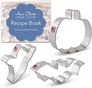 Ann Clark Cookie Cutters 3-Piece Halloween Cookie Cutter Set with Recipe Booklet, Bat, Pumpkin and Ghost