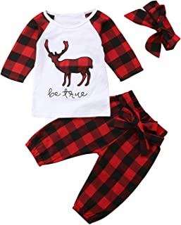 Baby Boys Girls Christmas Clothes Deer Applique Check Long Sleeve T-Shirt Tops+Headband+Plaid Long Pant Outfit Set