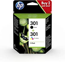 HP 301 Pack de 2 Cartouches d'Encre Noire et Trois Couleurs Authentiques (N9J72AE)