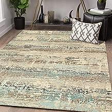 """Rugsville Juneau Ivory Abstract Modern Carpet 5'3"""" x 7'6"""""""
