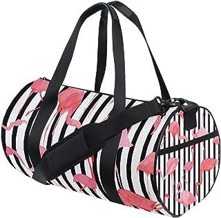 Ahomy Schultertasche, Flamingo, Schwarz/Weiß, gestreift, leicht, Segeltuch, Reisetasche