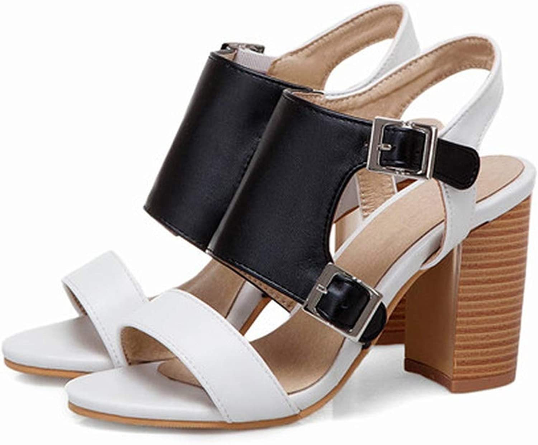 YuJi Women Sandals Summer Buckle Block Heel Gladiator shoes Fashion Super High Heel Sandals,White,11.5