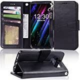 Arae Case Compatible for Samsung Galaxy S8, [Wrist Strap] Flip Folio [Kickstand Feature] PU Leather Wallet case with ID&Credit Card Pockets [Not for Galaxy S8 Plus] (Black)