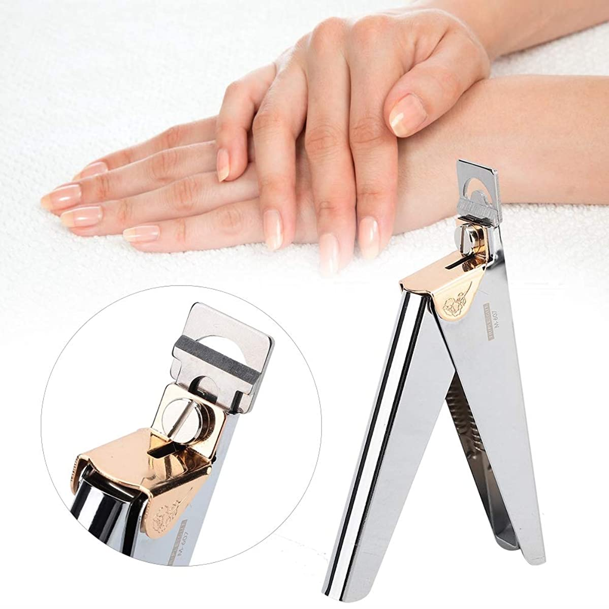 選出する南西イブニング指爪 爪ケア ネイルチップクリッパーカッター フランス式 プロ U字型ネイルアートクリッパーはさみ - マニキュア偽ネイルチップカッター - ステンレス鋼