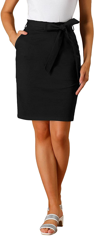 Allegra K Women's Workwear Paperbag Elastic Waist Cotton Pencil Skirt with Side Pockets