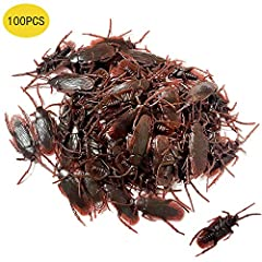 Quanitities: 100pcs life-like fake roaches design with fake antennas, legs and wings. meet your needs of prank with enough quantities. Size:7cm/2.7 inch in length. Material: Made of non-toxic PVC materials. Play a trick: Put the fake roaches in a fri...
