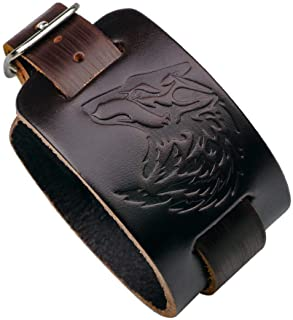 Juland Punk Style Leather Bracelet Wolf Head Wristbands Wide Belt Cuff Bangle Rock Wrap for Men Boy Adjustable - Brown