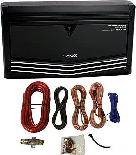 Kenwood KAC-9106D 2000W Monoblock Class D Car Audio Power Amplifier + Amp Kit (Renewed)