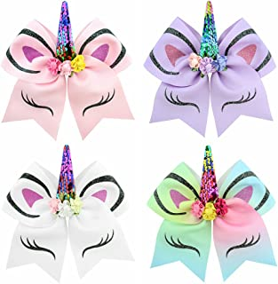 "inSowni 6"" Big Large Glitter Sequin Bow Unicorn Hair Ties Bands Scrunchies Elastics Ponytail Holders for Baby Girls Toddle..."
