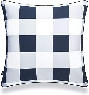 "Hofdeco Coastal Patio Indoor Outdoor Pillow Cover ONLY for Backyard, Couch, Sofa, Gray Buffalo Check, 20""x20"""