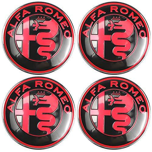 ZXCV 4Pcs Centro Tapacubos, para Alfa Romeo 60mm Car Centrales Tapones Mediados Tapas de Llantas Cubo de la Rueda Plastico Aleación Logo Insignia Coche Accesorios