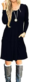JOSIFER Women's Casual Pleated Loose Swing T-Shirt Dress with Pockets (S-2XL)