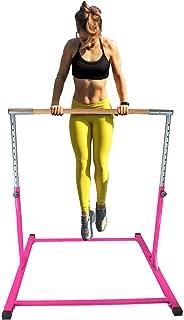 Athletic Horizontal Bar 5 Ft Adjustable Gymnastics Bars 300 Lb Capacity Standard Kip Kids Jungle Jr Training Pink