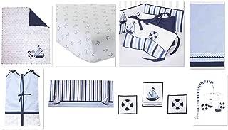 Bacati - Little Sailor 10 piece Boys Crib Set with Bumper Pad 100 percent Cotton. INCLUDES FREE PLUSH BLANKET.