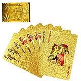 Cartas de póquer, plástico de PVC, Negro y Dorado, Impermeable, Herramienta mágica, Paquete de 54 Piezas para Juegos, Fiestas y Juegos Familiares