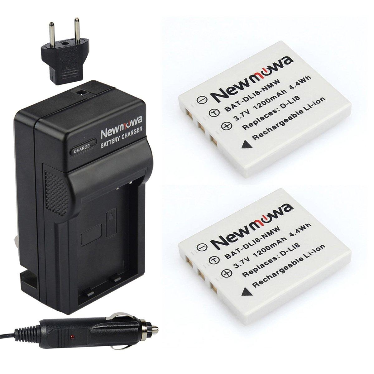 Newmowa Battery 2 Pack Charger Pentax