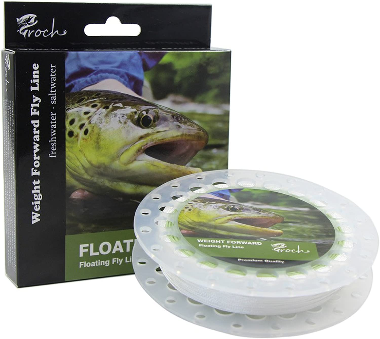 Weight Forward Fly Fishing Line WF 3F 5F 7F 100ft (Moss Green) + 30lb Backing 50YDS + 9ft Leader