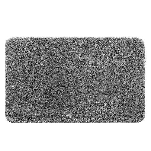 浴室足ふきマット 2秒で素早く乾かし、洗濯機で洗えるバスルームフットクリーニングマットTPRラテックス滑り止めマット (グレー)