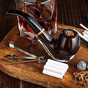 Whitluck s Tobacco Pipe Handmade Wood Smoking Pipe Perfect Beginner Pipe Kit for Smoking with Ultimate Guide E-Book Gift Set and Accessories  Sunny Yellow